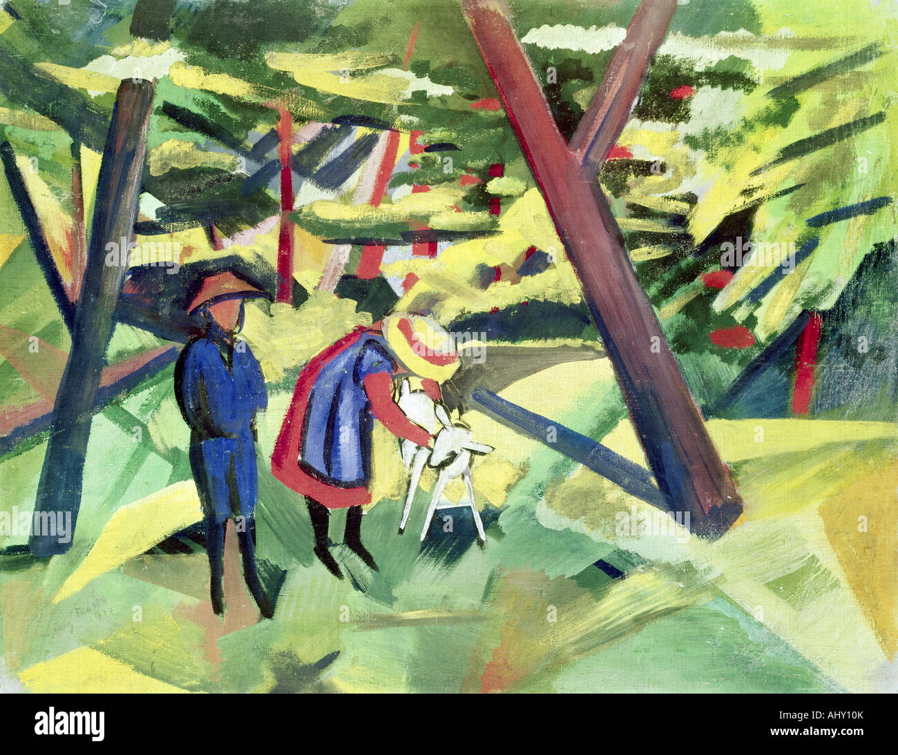 'fine arts, Macke, August, (1887 - 1914), painting, 'Kinder mit Ziege im Wald', ('children with - Stock Image