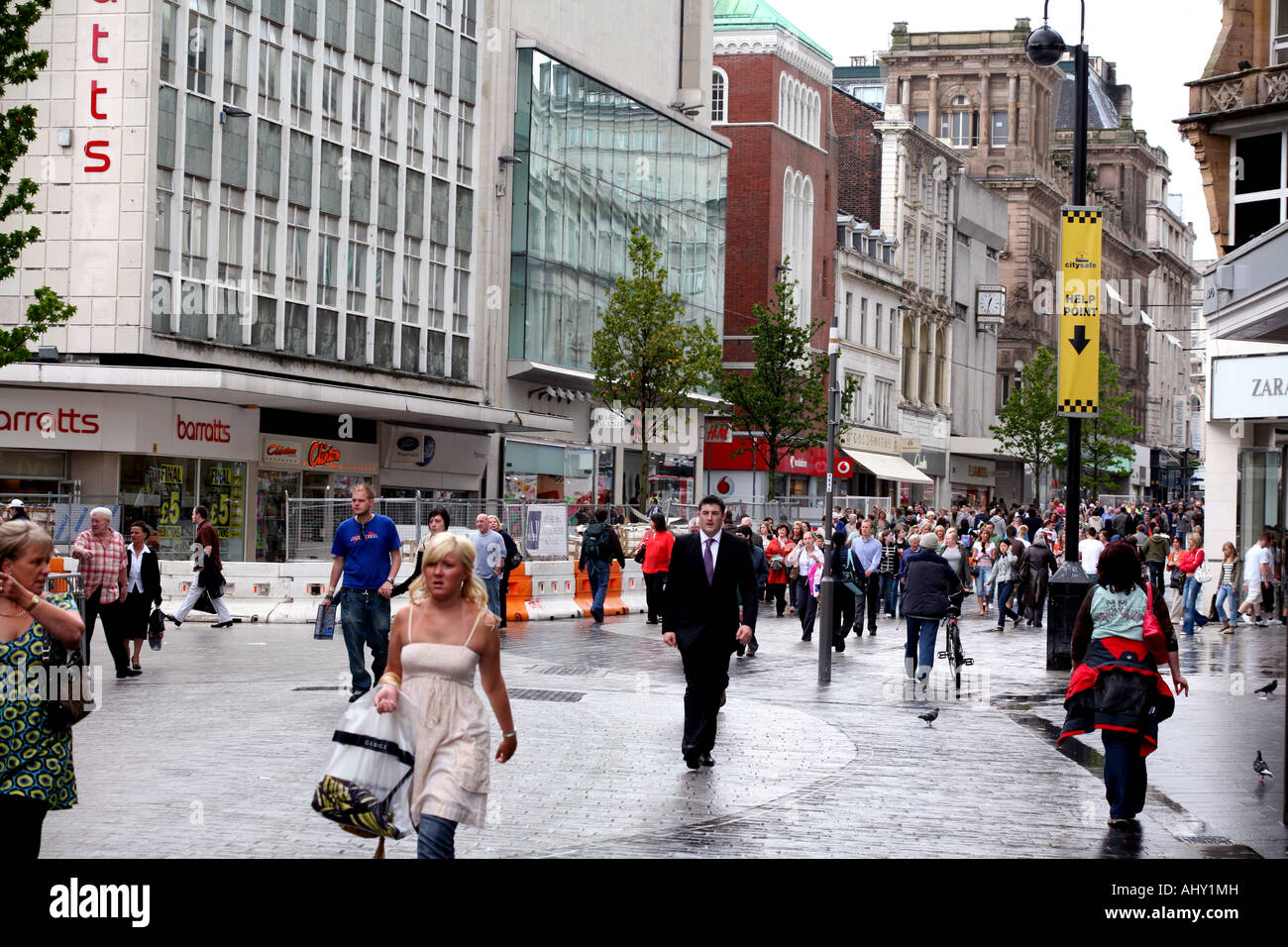 Pedestrianised Lord Street shopping street in central Liverpool Stock Photo