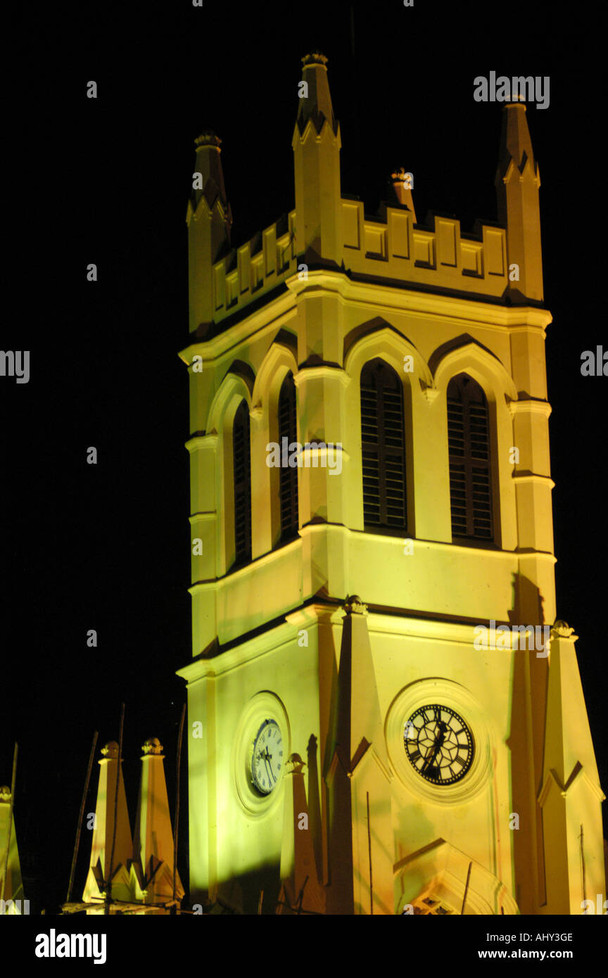 Post Britsh Raj era St Michael cathedral church by night in Shimla Himachal Pradesh India - Stock Image