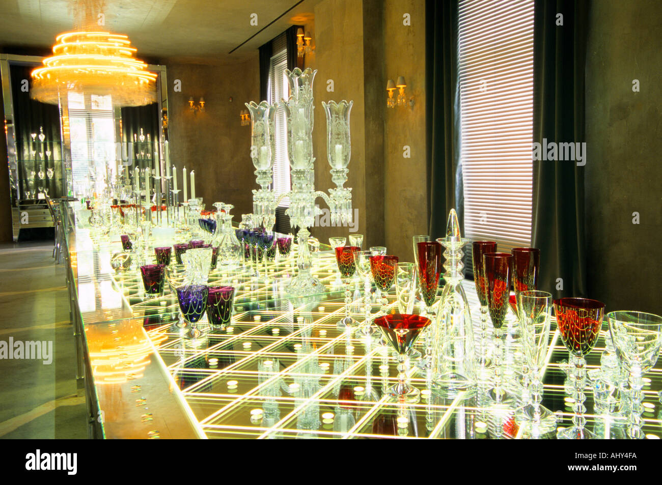 Crystal Chandeliers And Glasses Designed By Philippe Starck The Baccarat With Its Revolving Chandelier