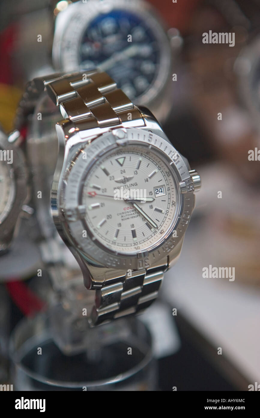 Close up of Breitling watch in Watches of Switzerland store window on Oxford Street London - Stock Image
