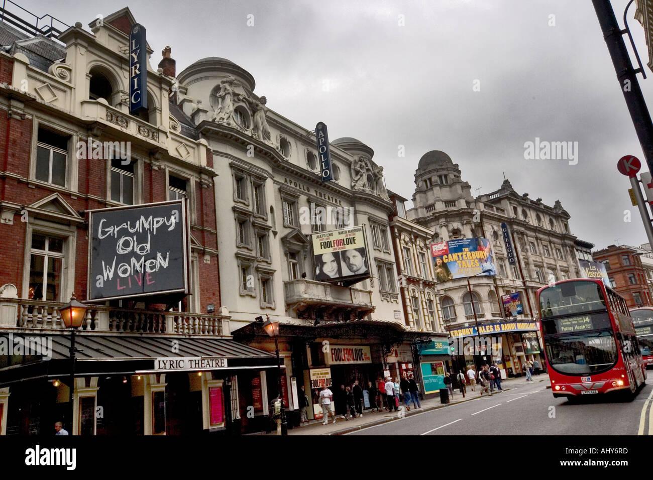 Lyric Apollo and Gielgud theatres on Shaftesbury Avenue London - Stock Image