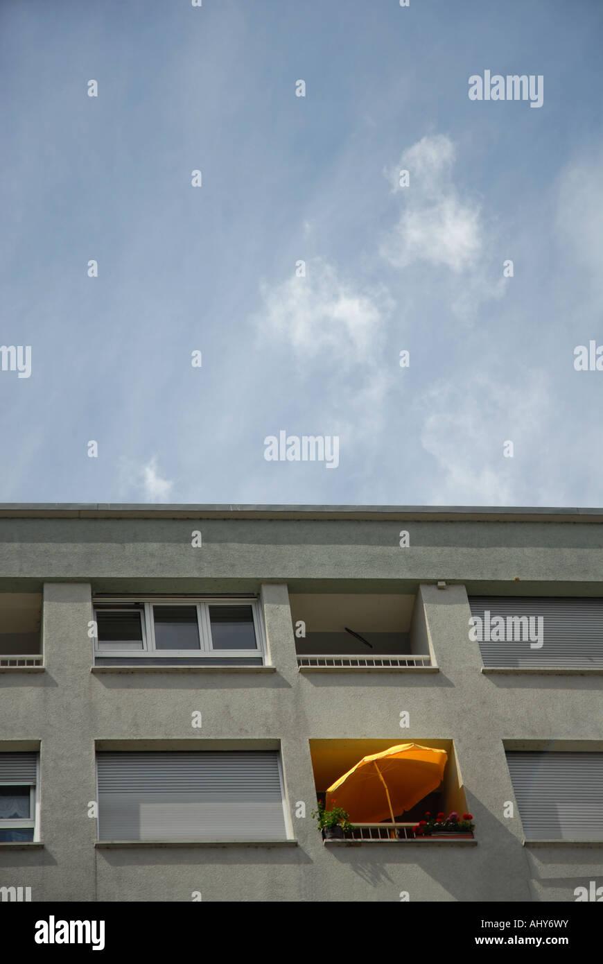 balcony with sunshade in a block rental Stock Photo