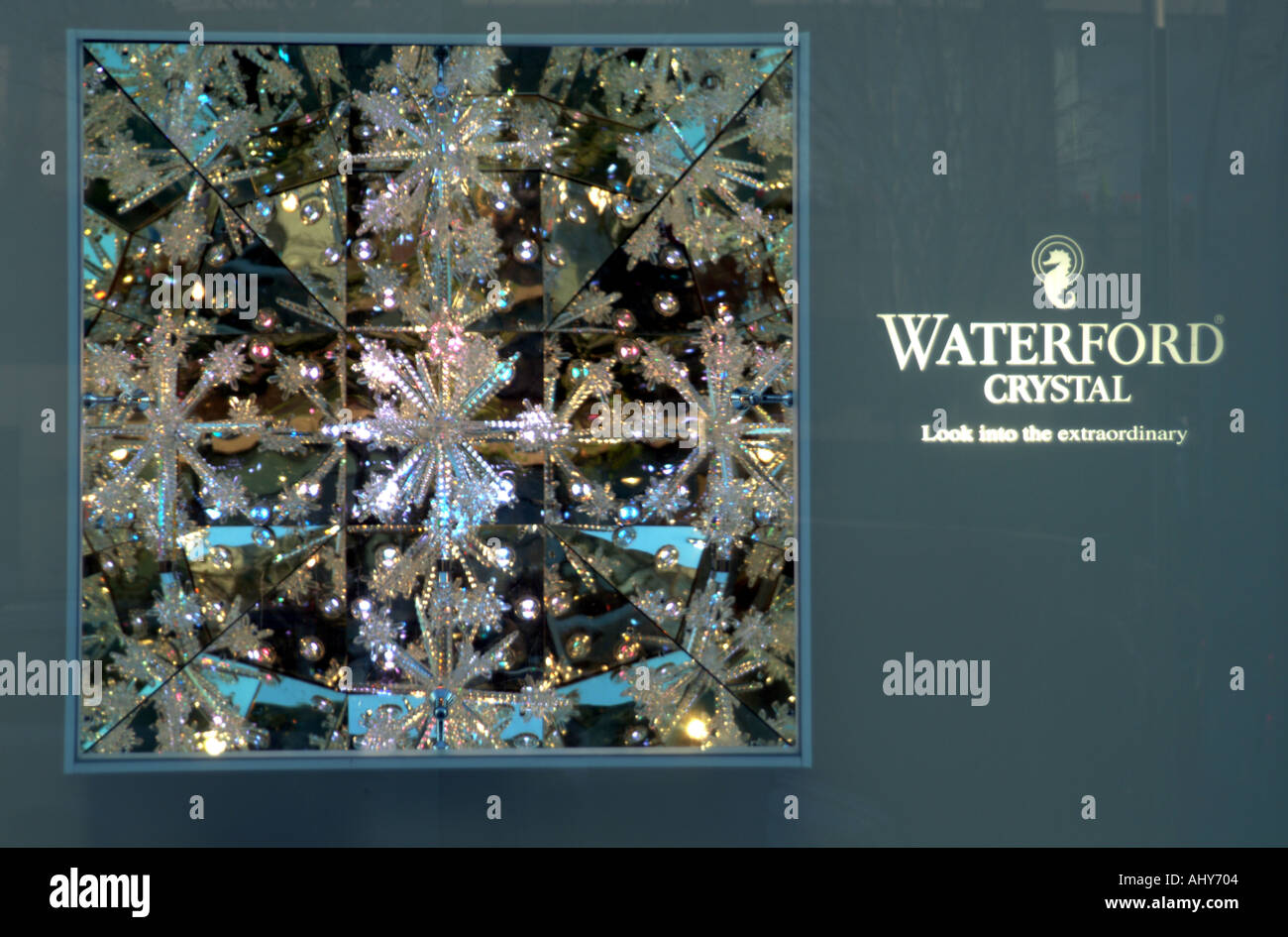 Waterford Crystal logo display on O Connell Street Dublin city centre Ireland EU - Stock Image