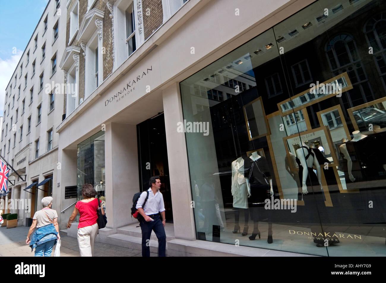 donna karan designer clothes store on bond street stock
