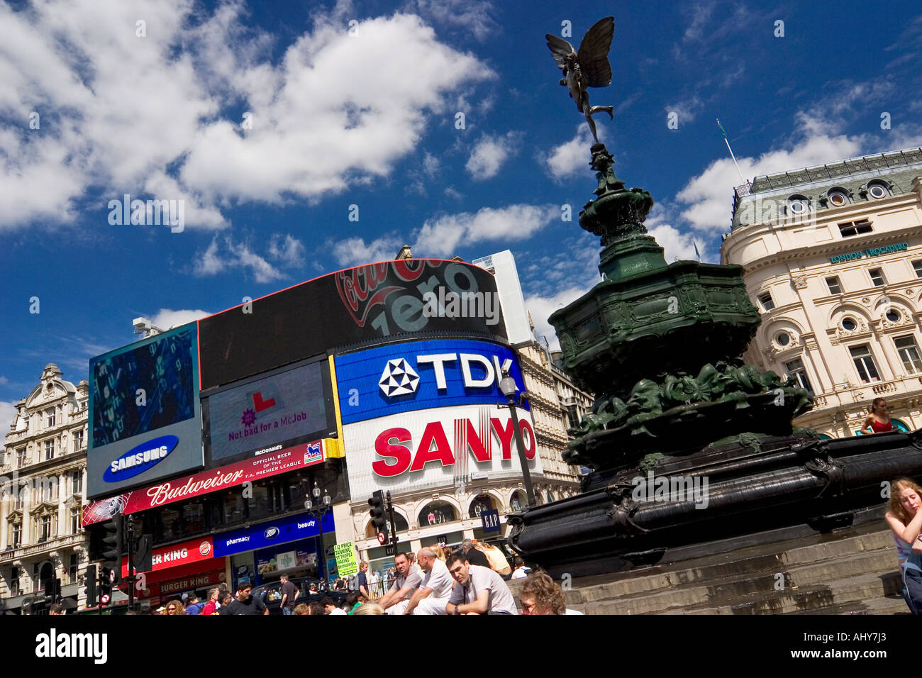 Eros statue at Piccadilly Circus London - Stock Image
