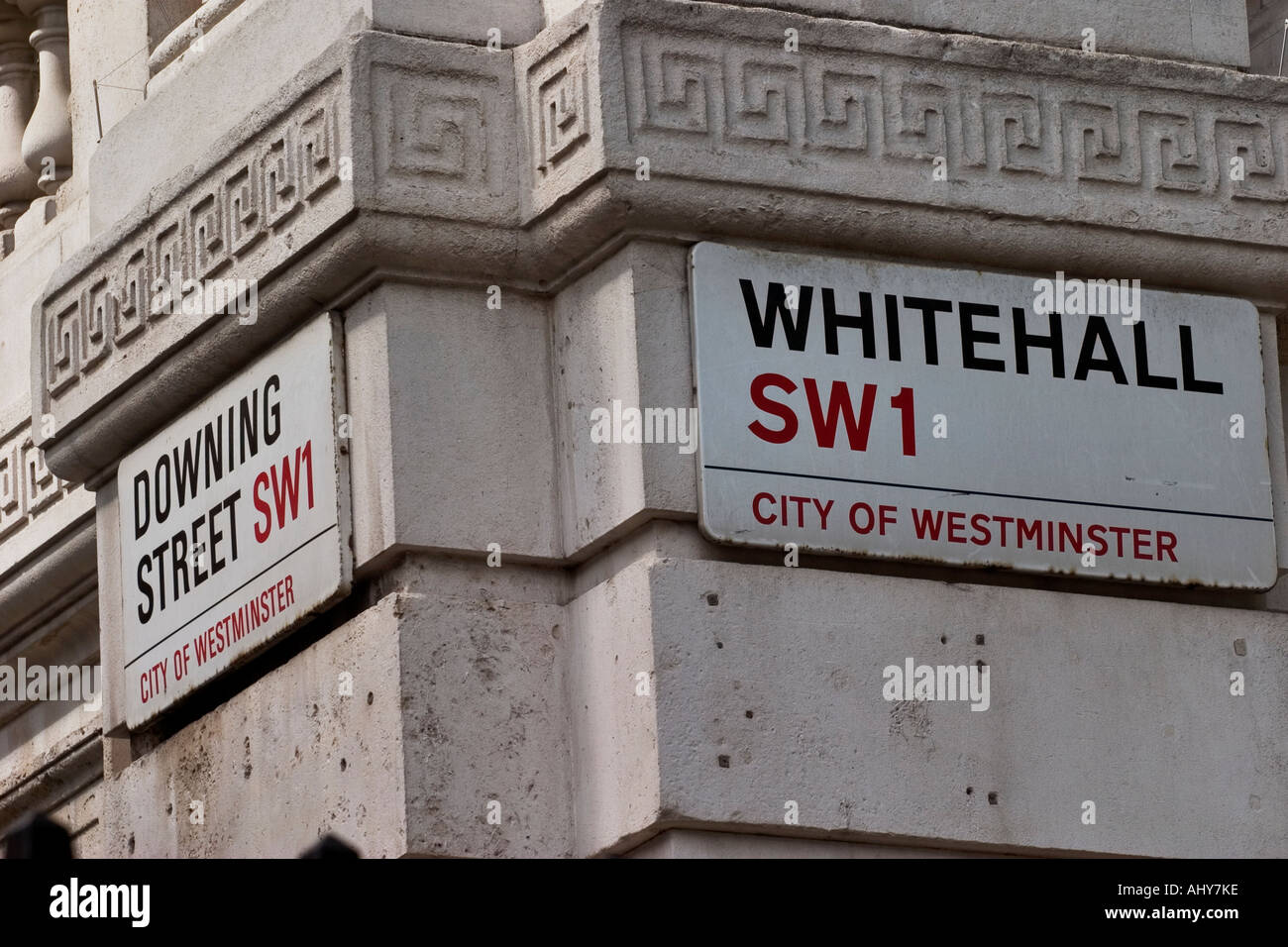 Whitehall and Downing Street signs London - Stock Image