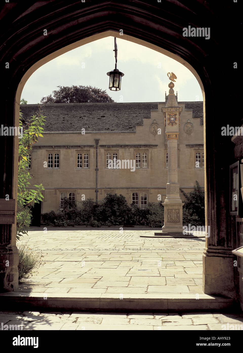Front Quad of Corpus Christi College and the Pelican Column - Stock Image