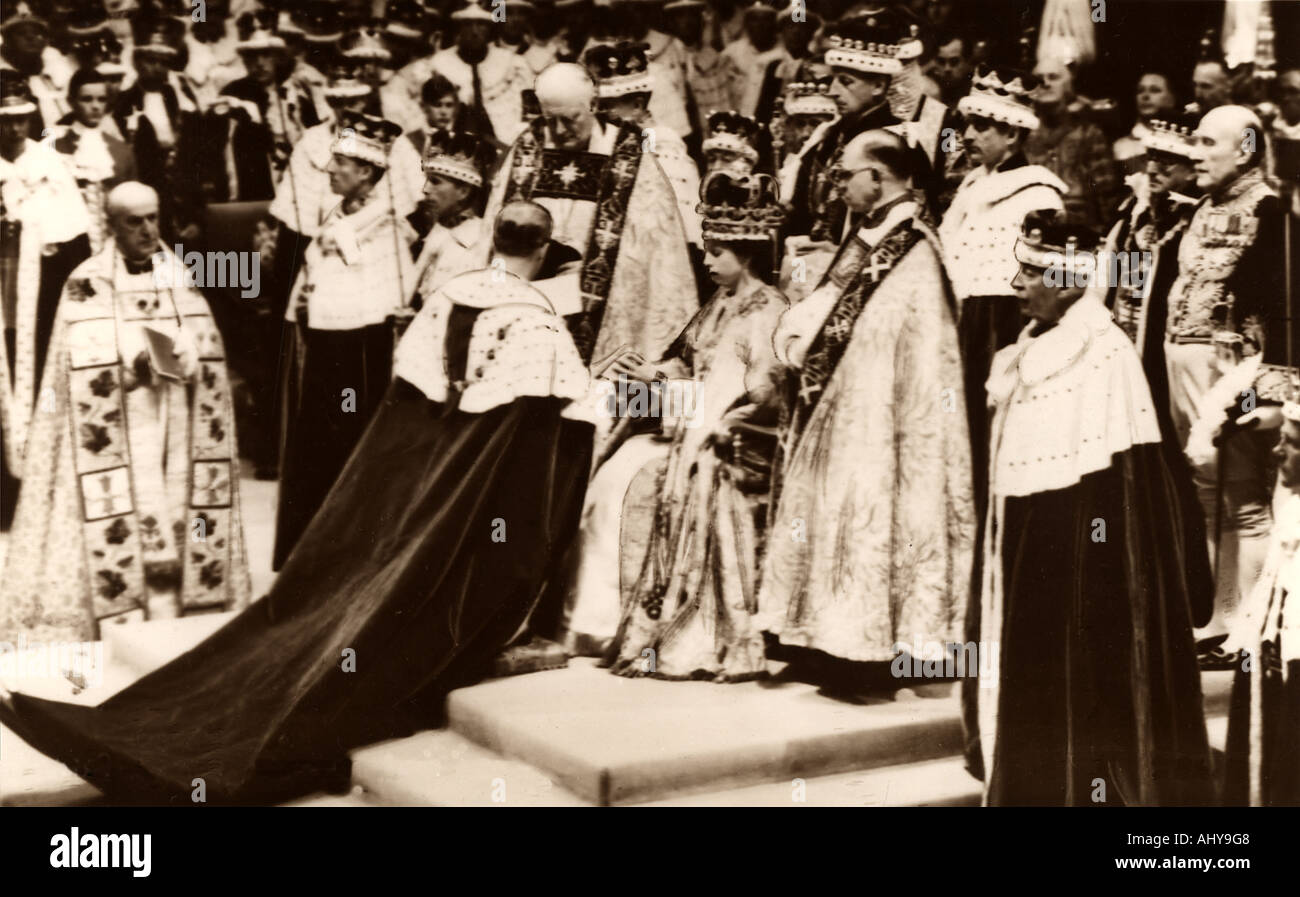 CORONATION of Queen Elizabeth II at Westminster Abbey London on 2 June 1953 - Stock Image