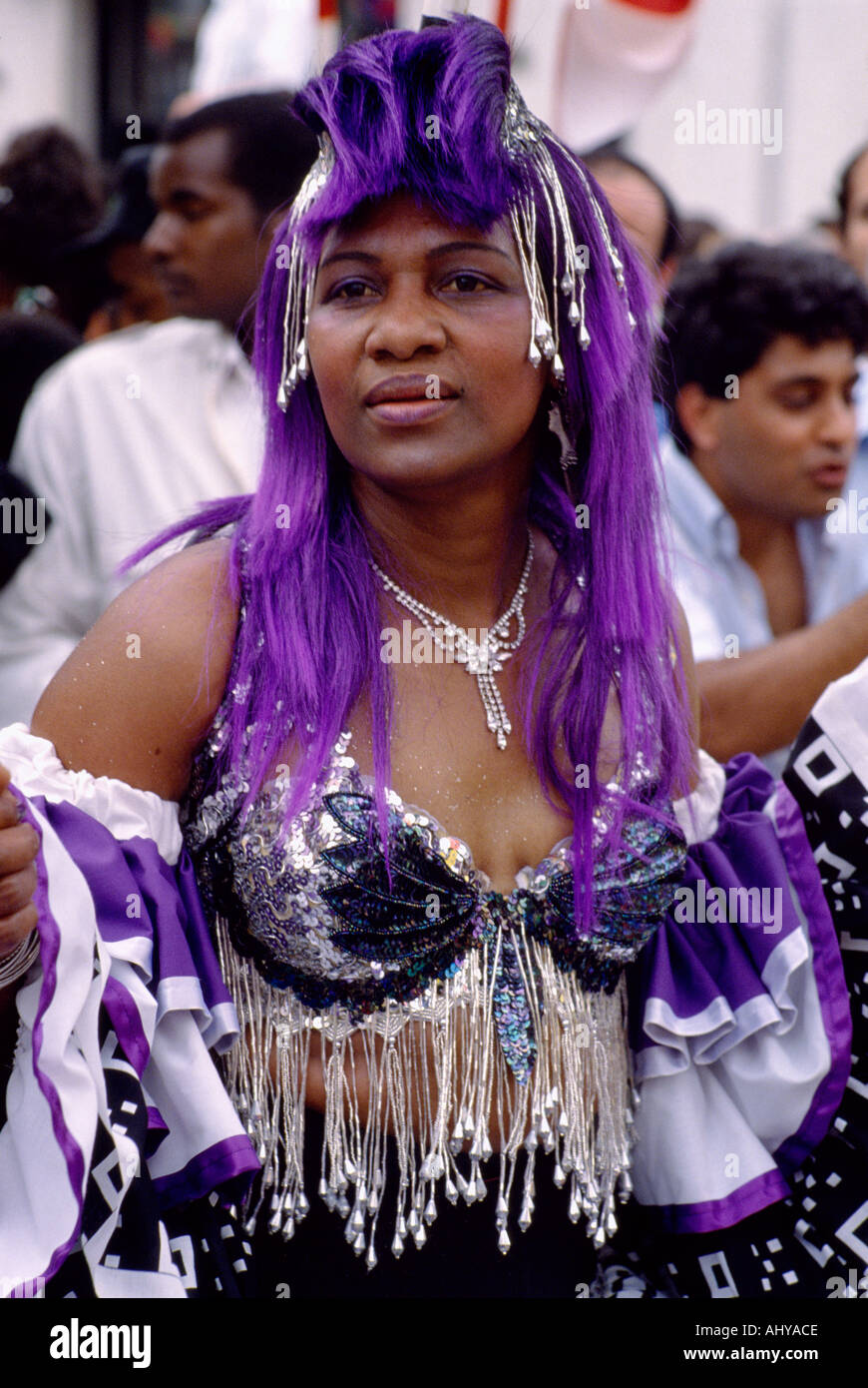 Notting Hill Carnival in London in England in great Britain in the United Kingdom UK. Fun Life Lifestyle People Culture West Indian Jamaican - Stock Image
