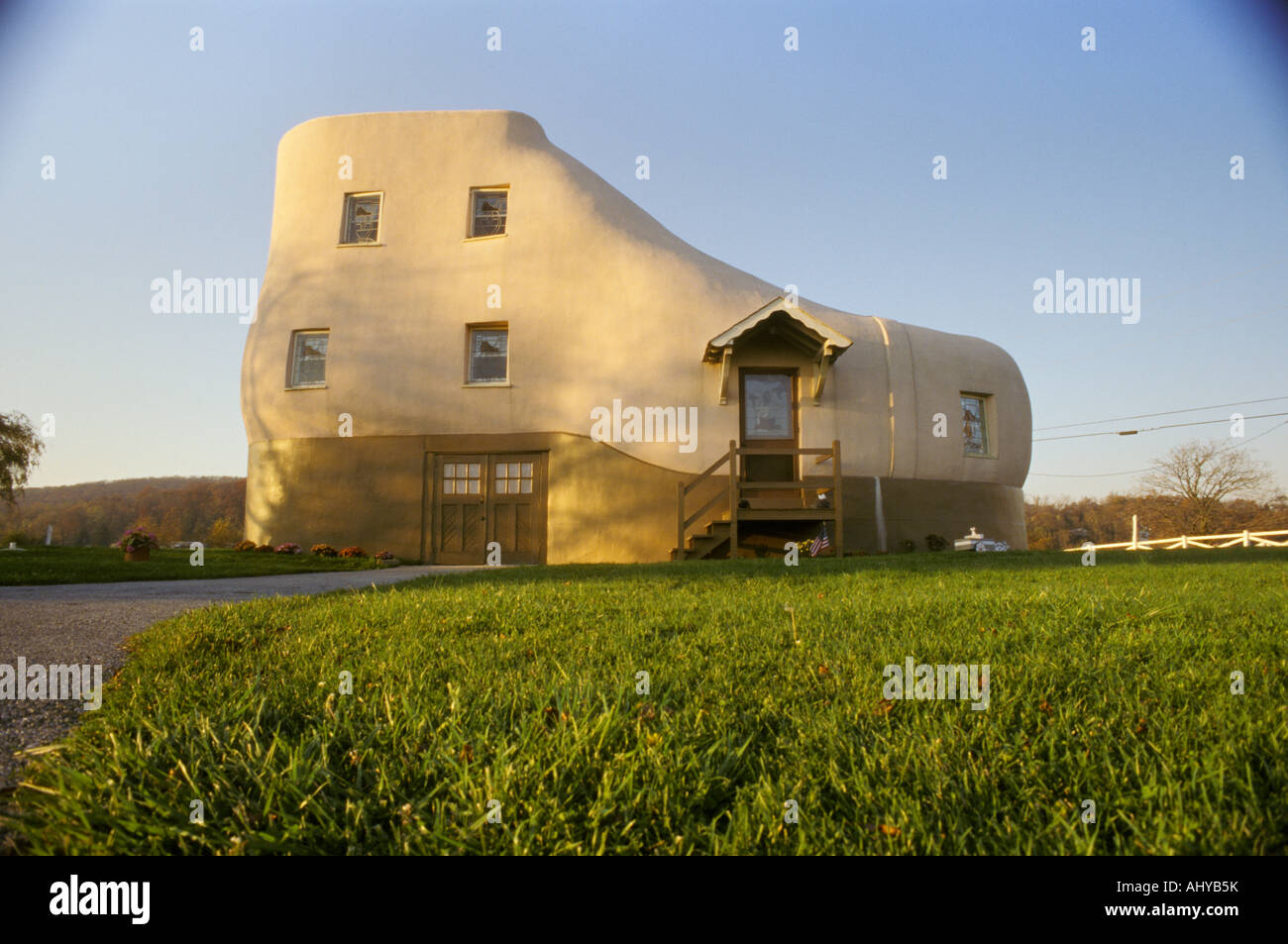 nursery rhyme inspired advertising scheme There was an old lady who lived in a shoe Haines house York PA Pennsylvania - Stock Image