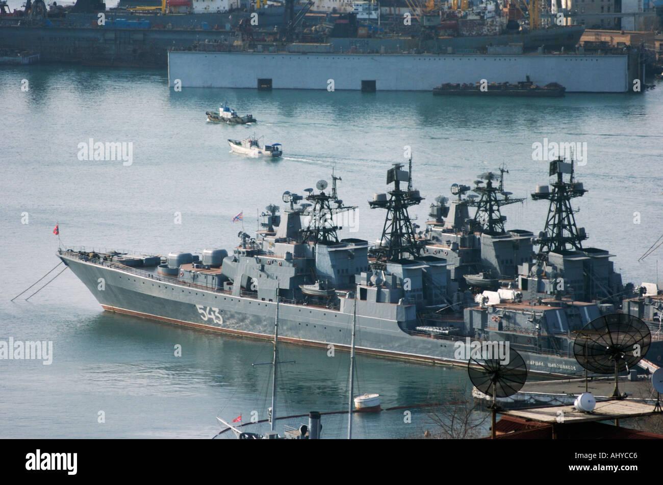 Warships of the Russian Pacific Fleet tied up in Vladivostok Harbour in Russia 2004 - Stock Image