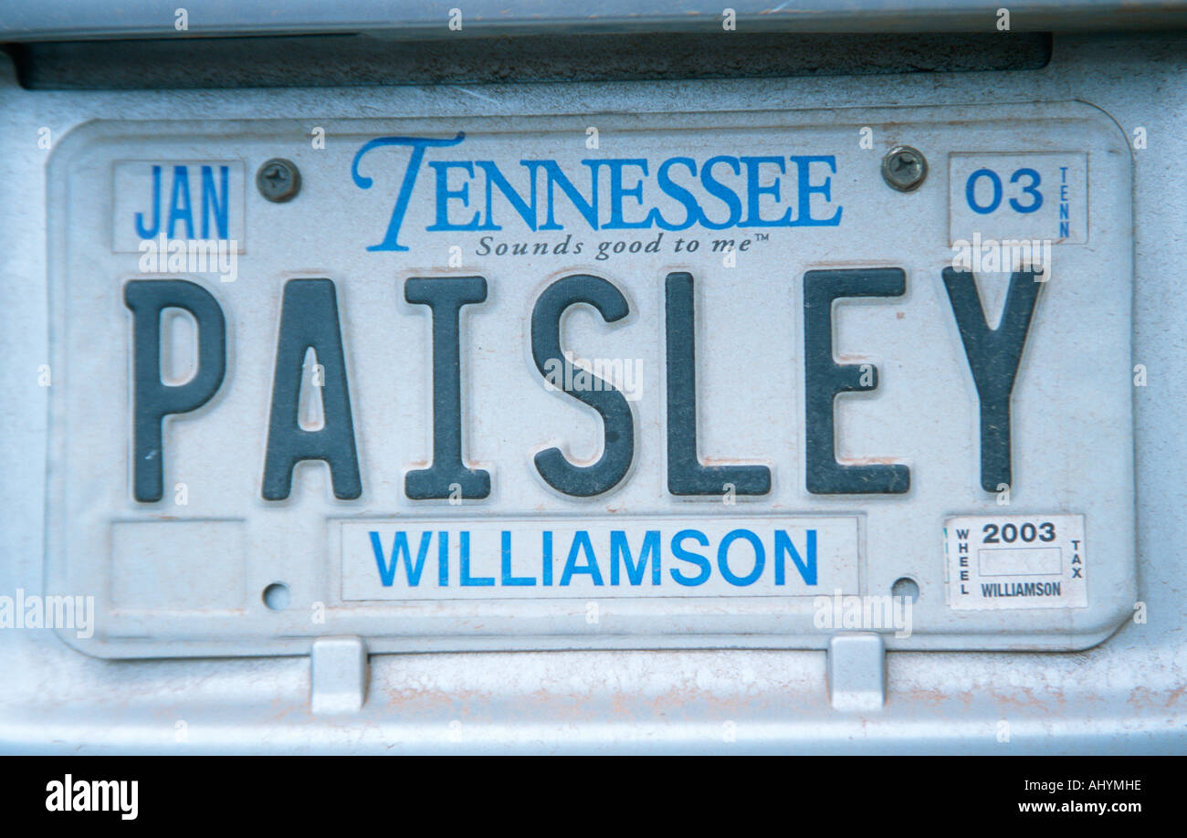 Vanity License Plate Tennessee Stock Photo: 8327709 - Alamy
