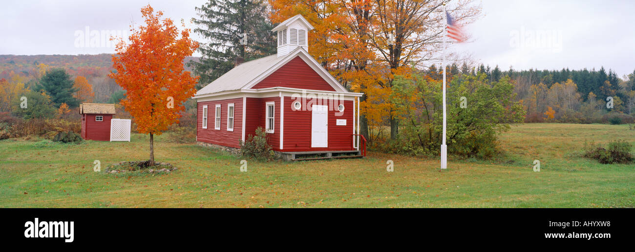 One room schoolhouse in Austerlitz from 1852 New York State - Stock Image