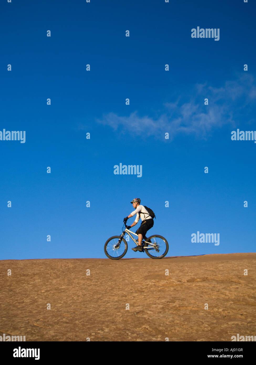 Person riding mountain bikes - Stock Image