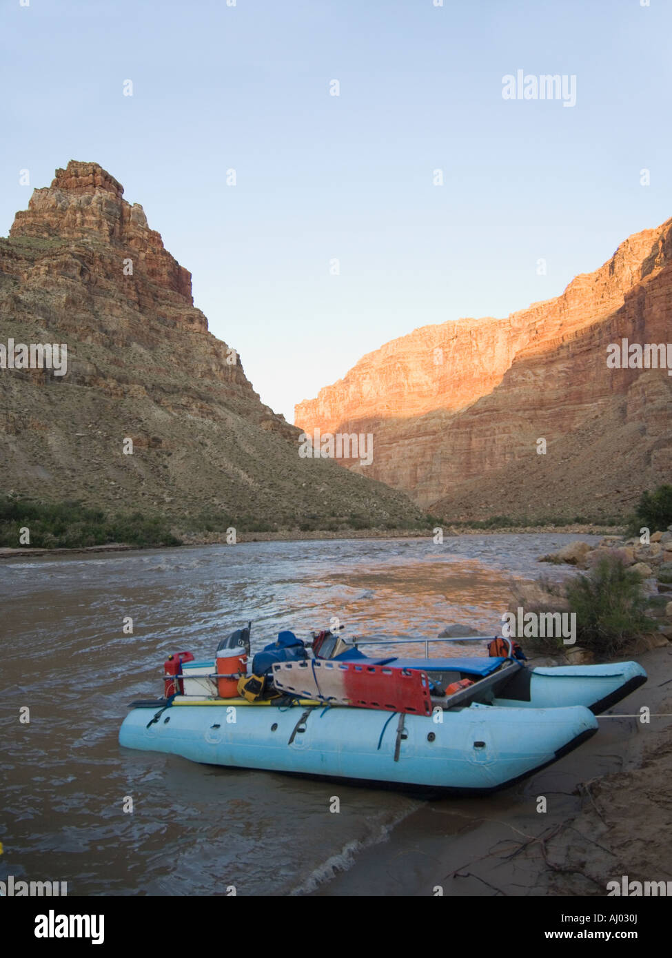 White water raft moored on river's edge, Colorado River, Moab, Utah, United States - Stock Image