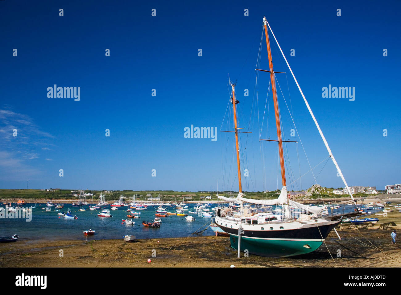 Boats and yachts in Hugh Town Harbour St Marys Isles of Scilly Cornwall  England UK United Kingdom GB Great Britain British Isle - Stock Image