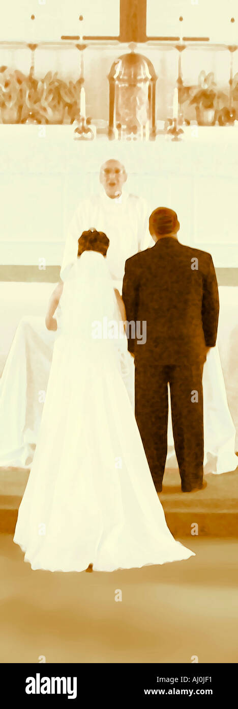 Abstract View of Wedding with Bride Groom and Preist in Sepia Tones  - Stock Image