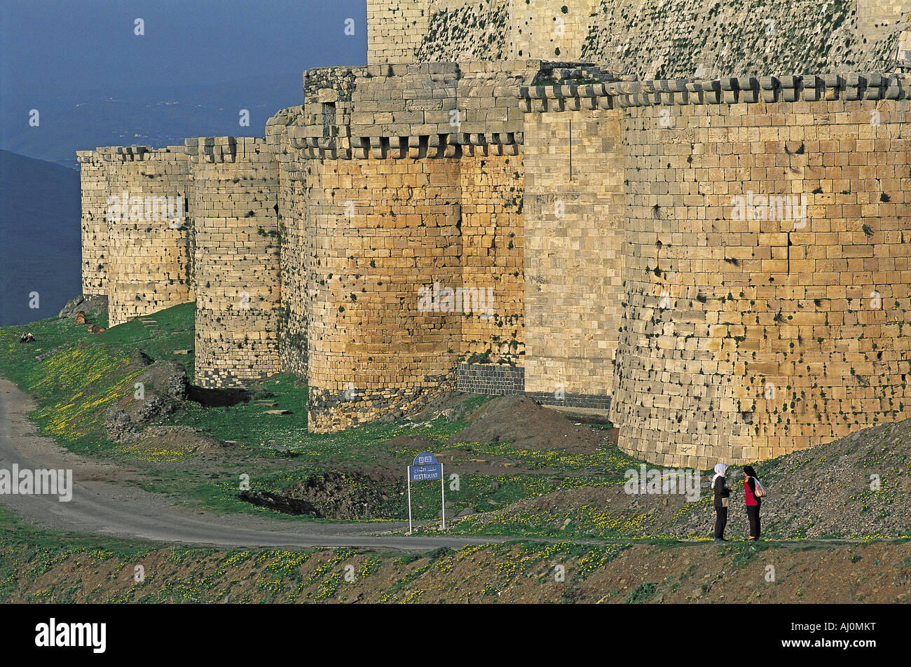 Syria, Qalaat al Hosn, Krak, Knights fortress listed as World Heritage by UNESCO - Stock Image