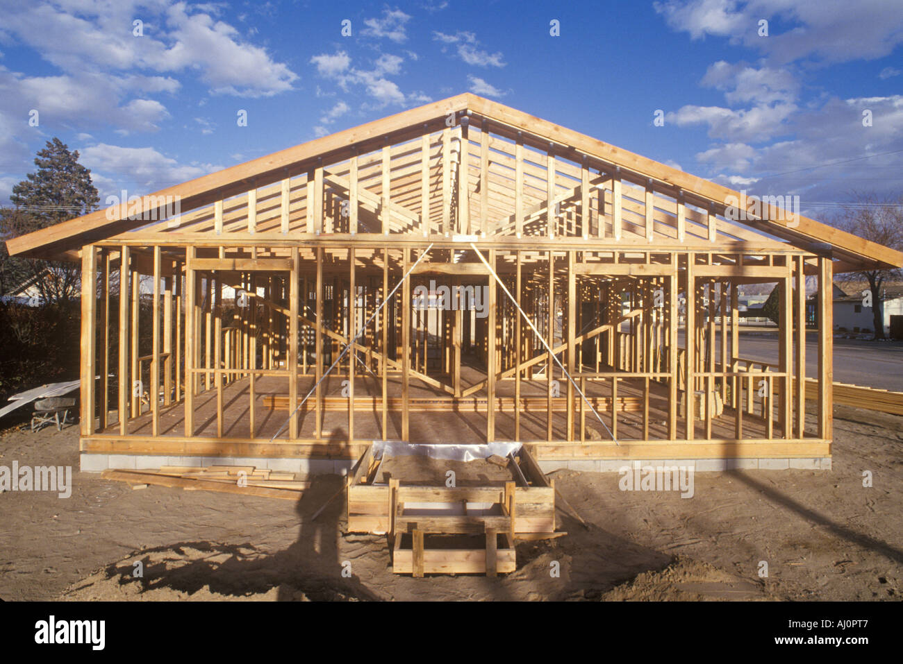 Wood frame of house under construction Lone Pine CA Stock Photo ...