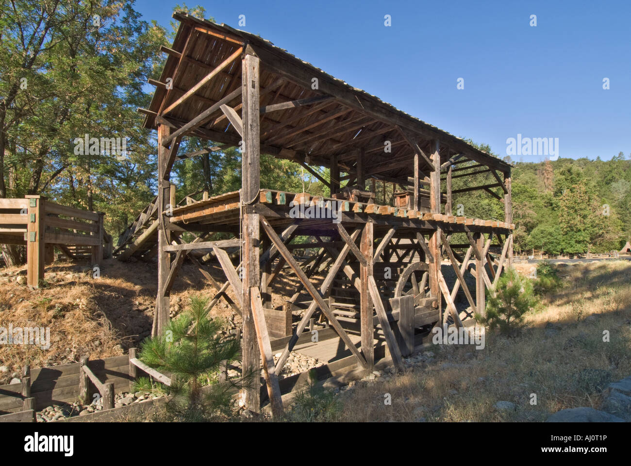 California Gold Country Coloma Marshall Gold Discovery State Historic Park sawmill replicated from original drawings - Stock Image