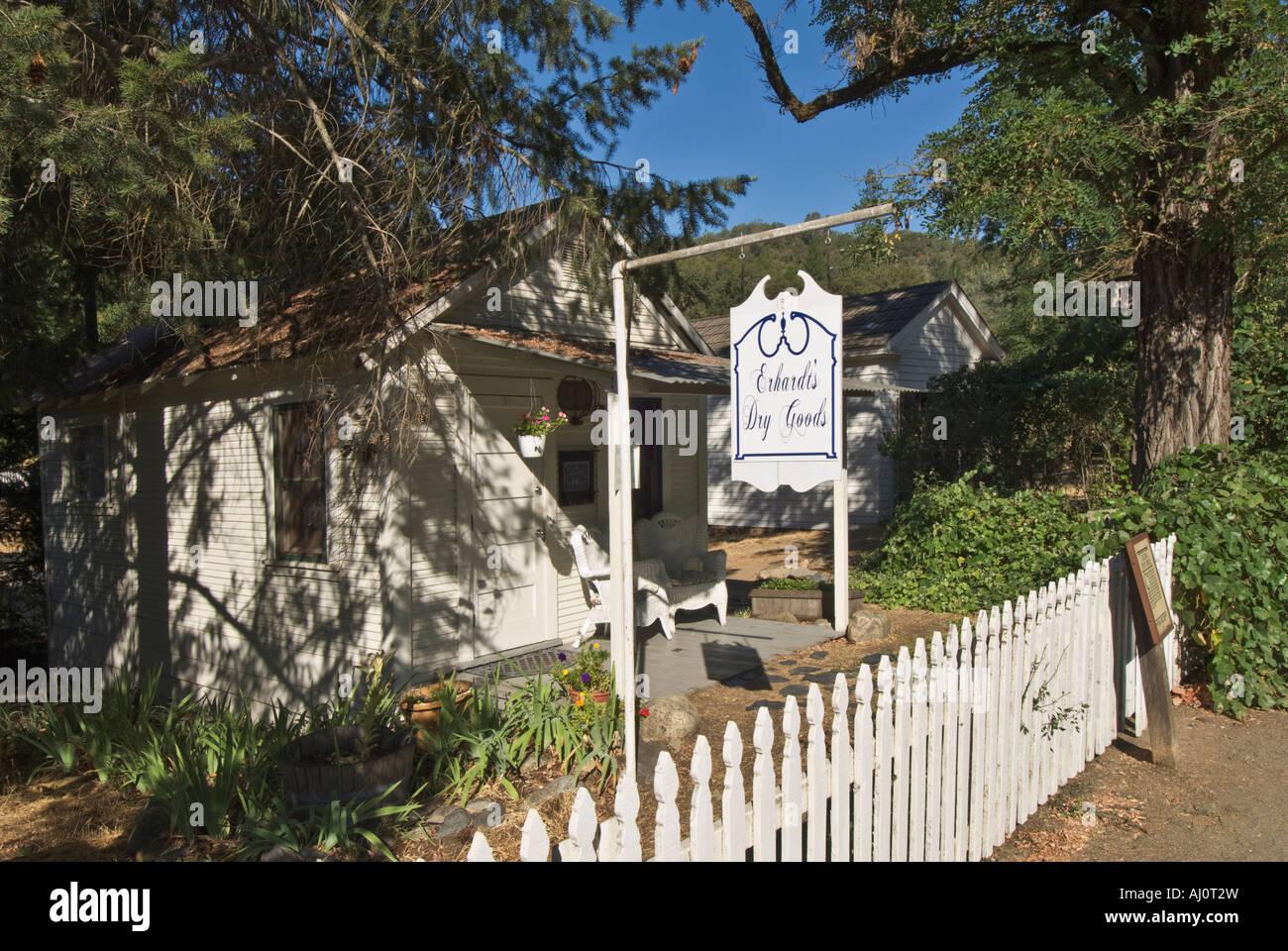 California Gold Country Coloma Marshall Gold Discovery State Historic Park first Post Office circa 1849 now shop - Stock Image