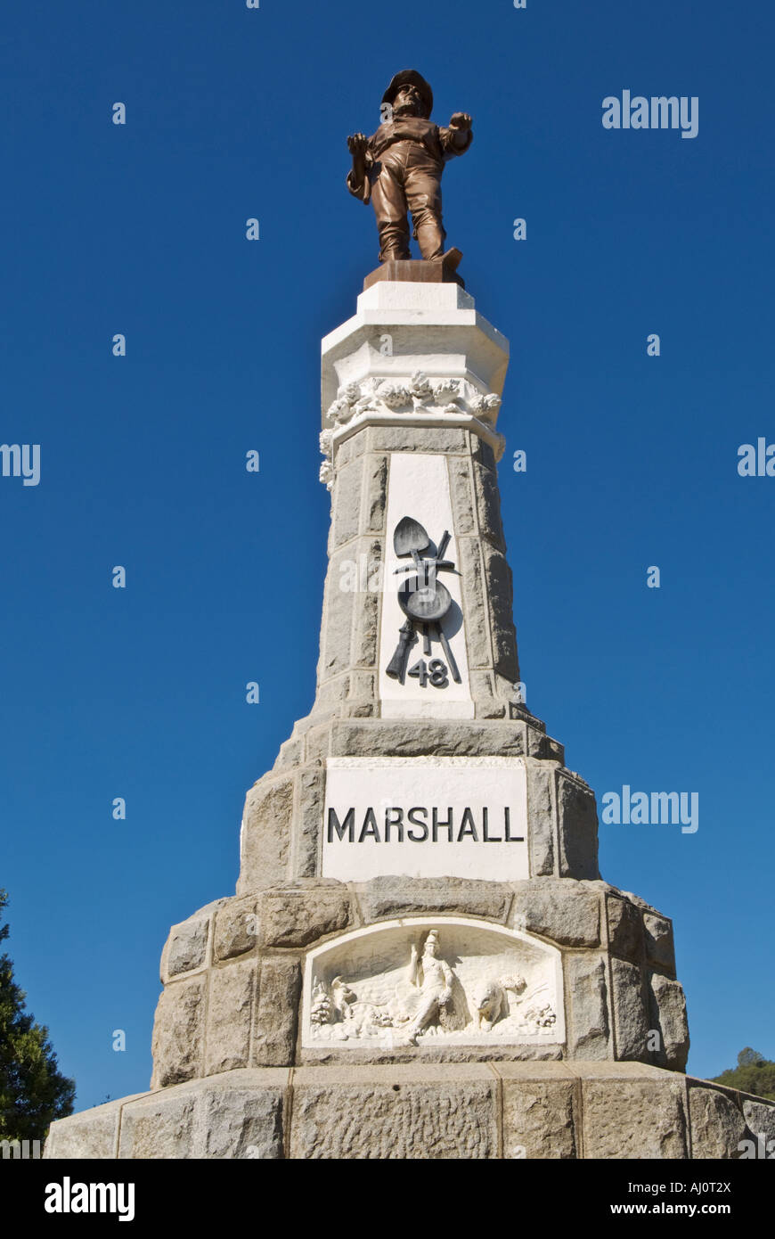 California Gold Country Coloma Marshall Gold Discovery State Historic Park James Marshall Monument - Stock Image