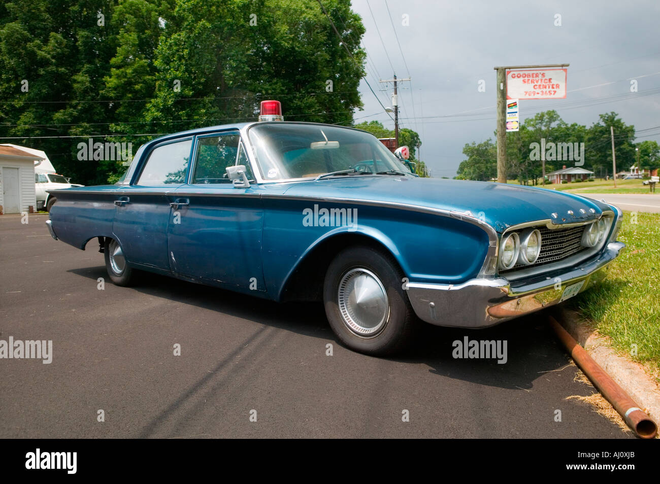 1960 Ford police car in Mount Airy North Carolina the town featured in Mayberry RFD - Stock Image