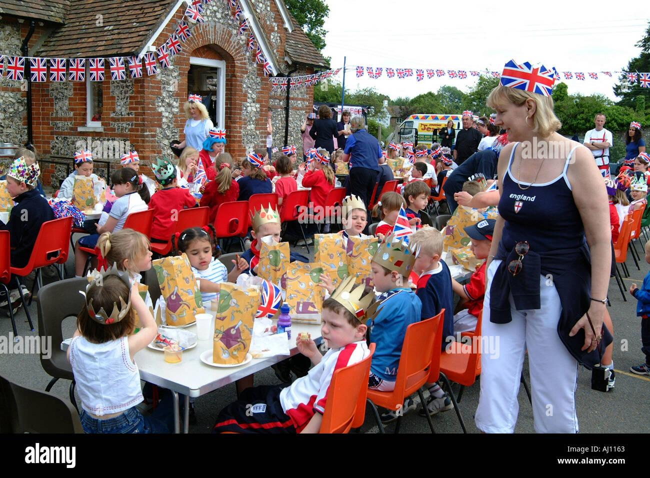HM Queen Elizabeth's Golden Jubilee Celebrations at a Hampshire school England - Stock Image