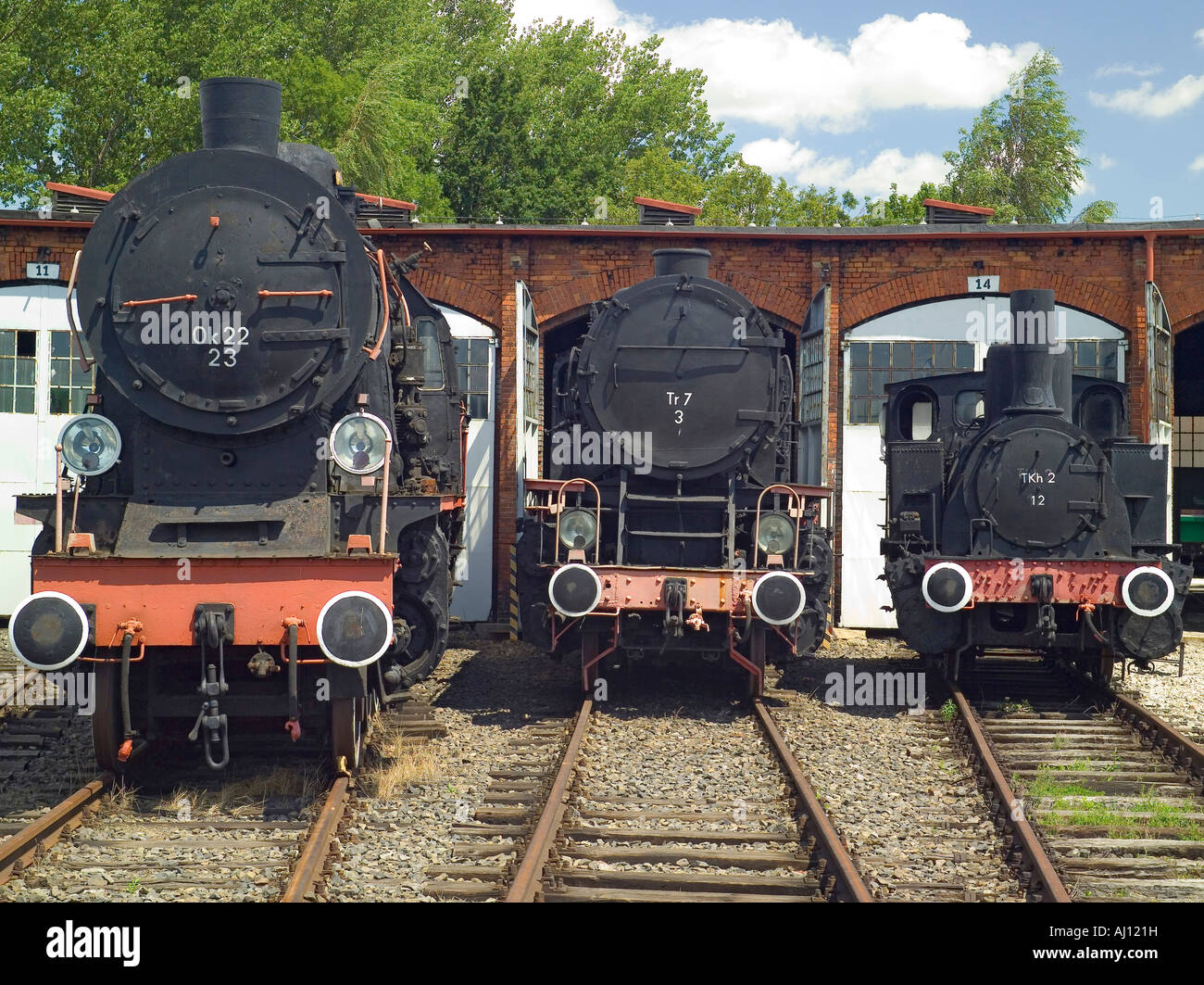 Steam engines locomotives Ok 22,Tr 7and Tkh 2 - Stock Image