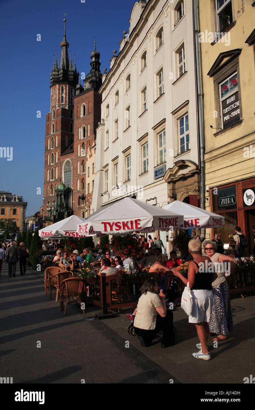 Café on Market Square Cracow Stock Photo