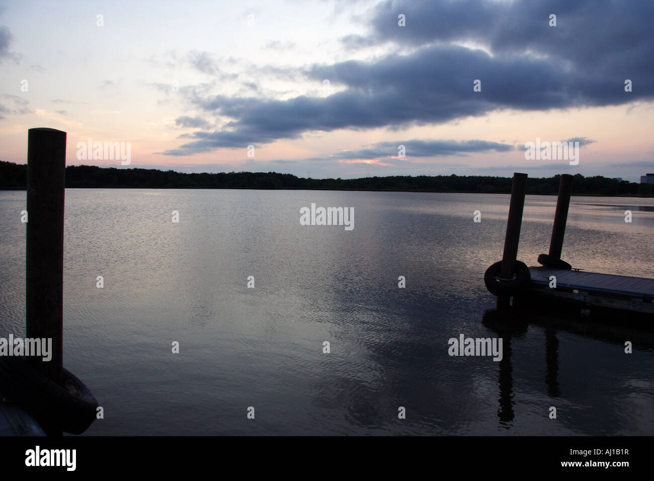 Busse Woods Forest Preserve.Port on the lake. Sunset Stock Photo