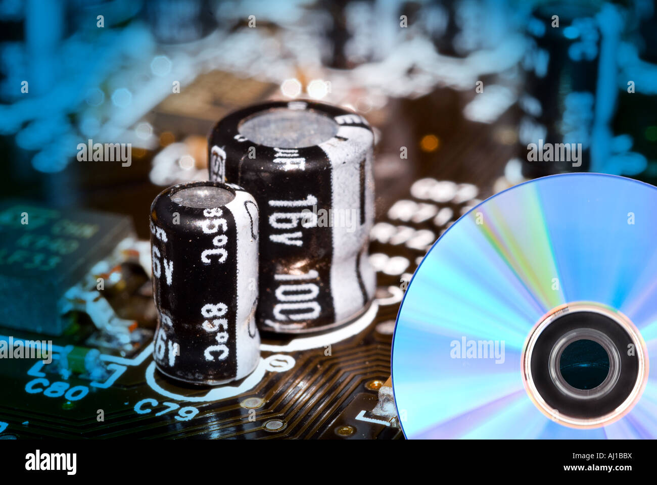Technology circuit boards make it possible to record to DVD s and CD s - Stock Image