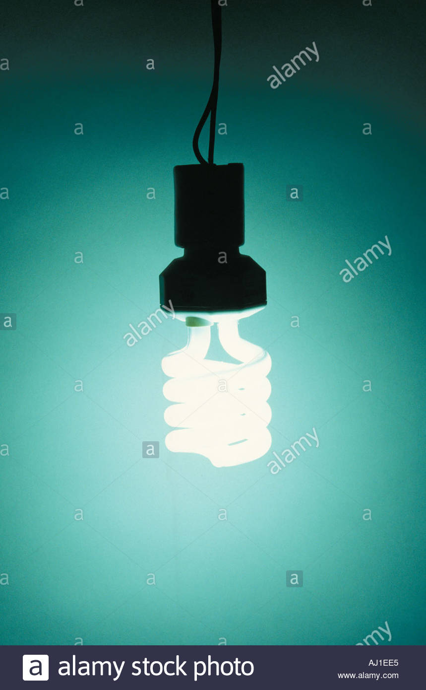 illuminated energy savings light bulb - Stock Image