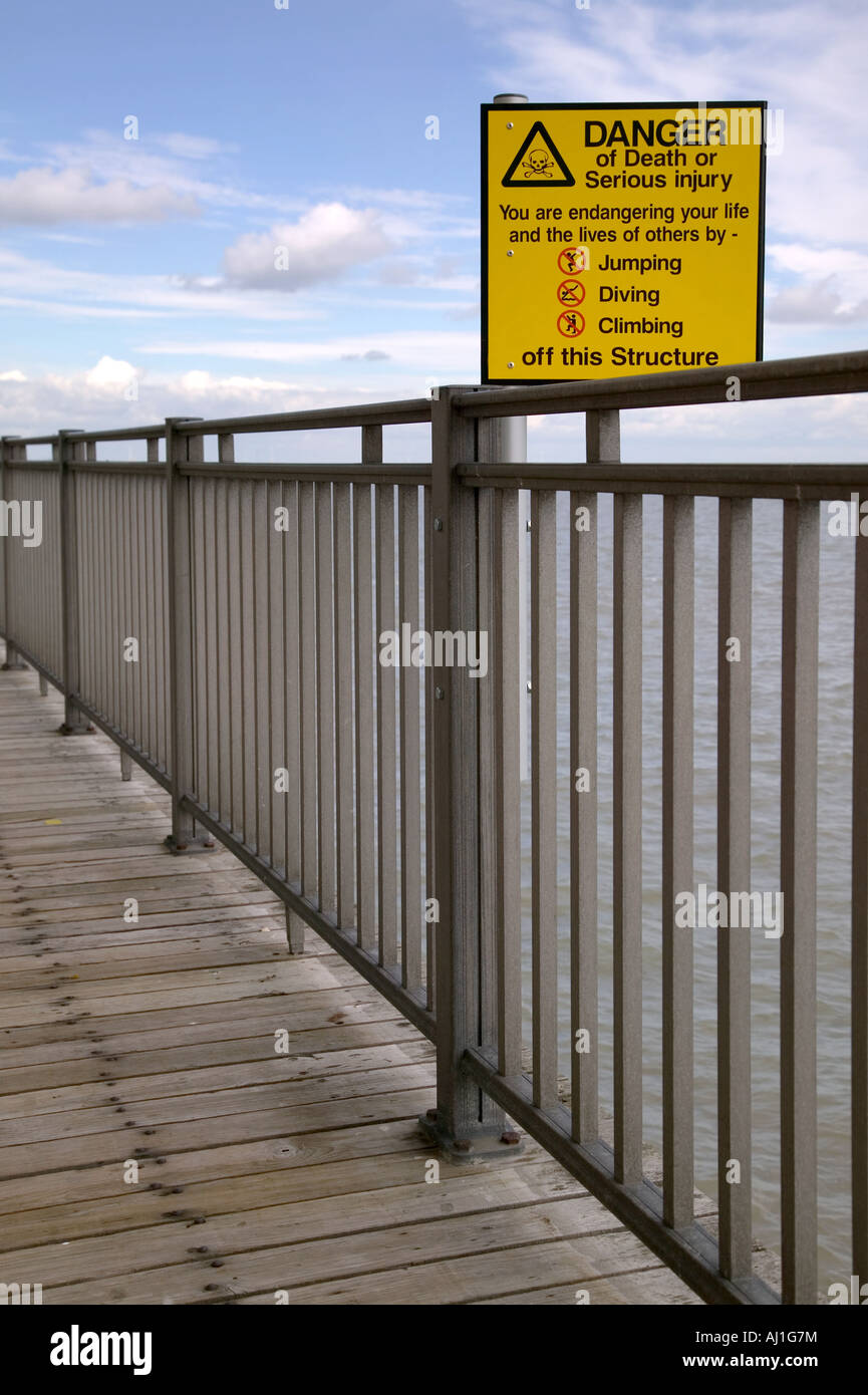 Danger of death sign at a pier Stock Photo