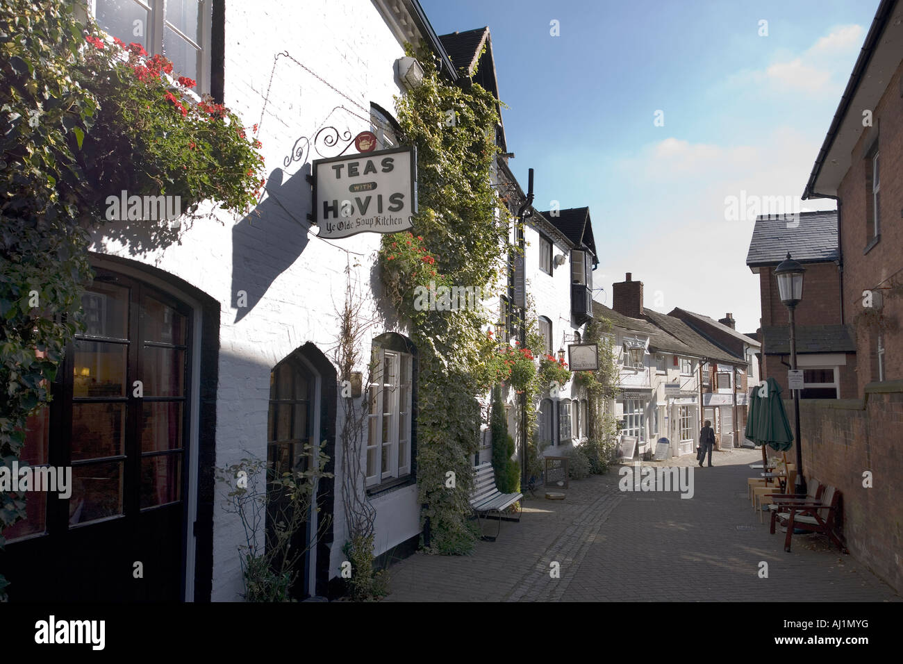 Church Lane with Ye Olde Soup Kitchen, Stafford, Staffordshire, England - Stock Image