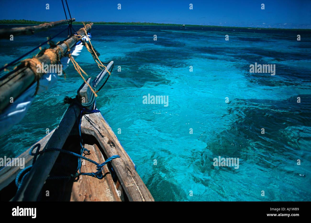 Crystal clear waters between Mafia and Chole island en route to the ruins of Kua on Joani island South of Zanzibar Tanzania - Stock Image