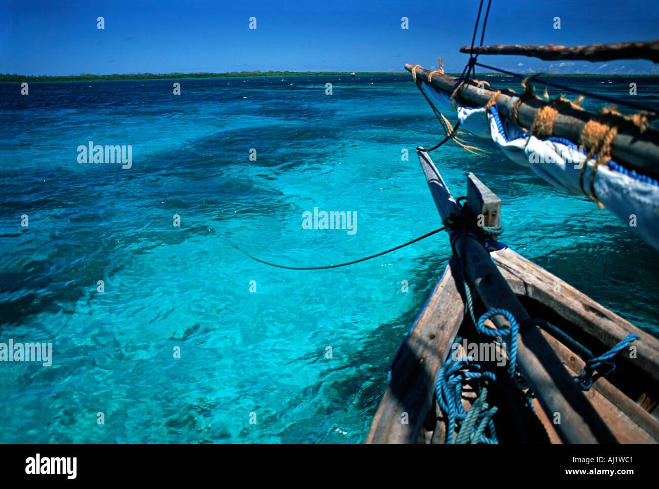 Crystal clear waters between Mafia Island and Chole island en route to the ruins of Kua on Joani island S of Zanzibar Tanzania - Stock Image