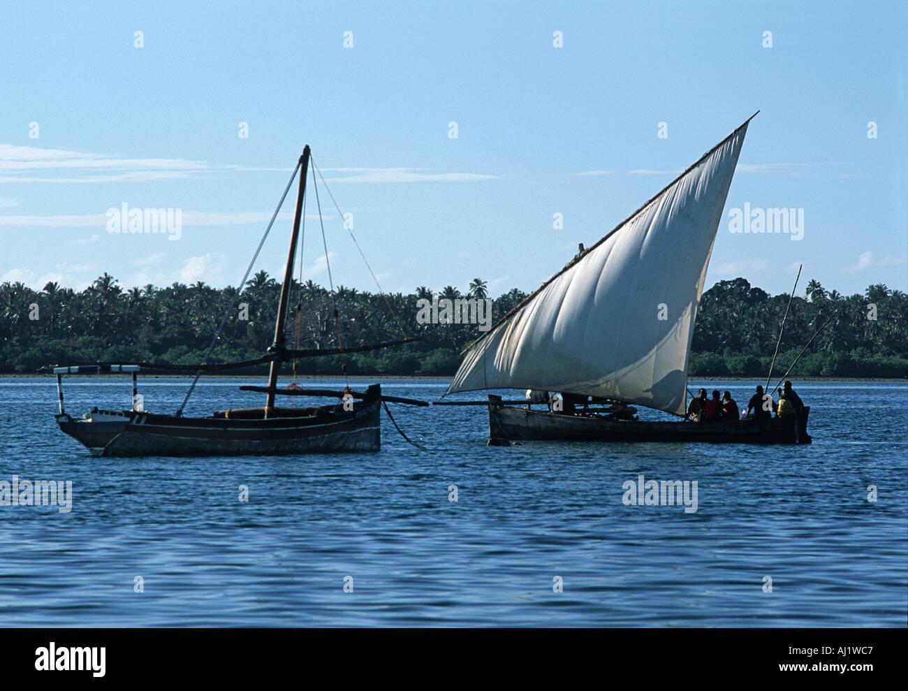 Dhow operating as a local ferry transporting people and produce between Mafia island and Chole island s of Zanzibar Tanzania - Stock Image