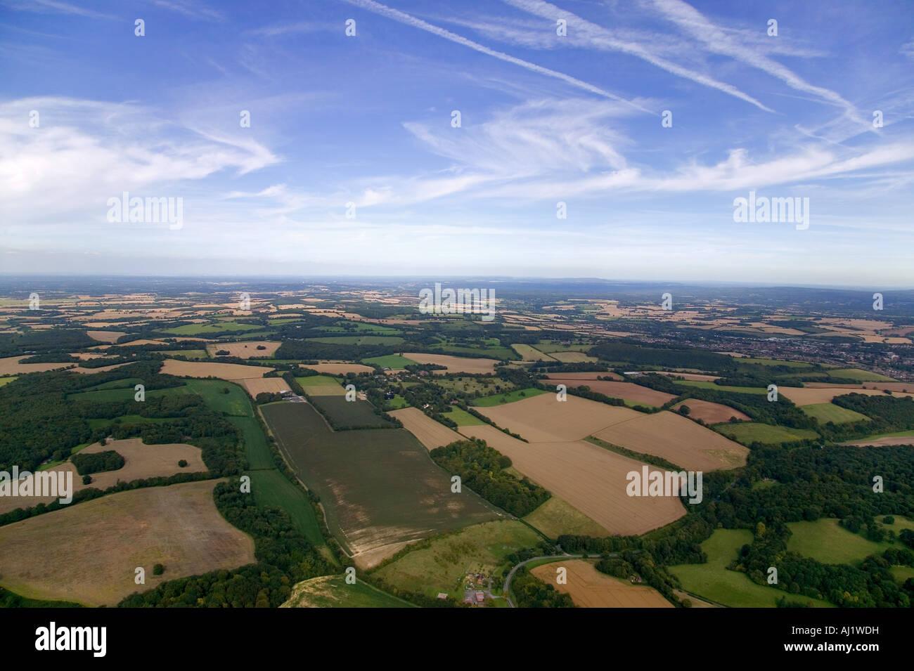 Ariel landscape shot of Hampshie England - Stock Image