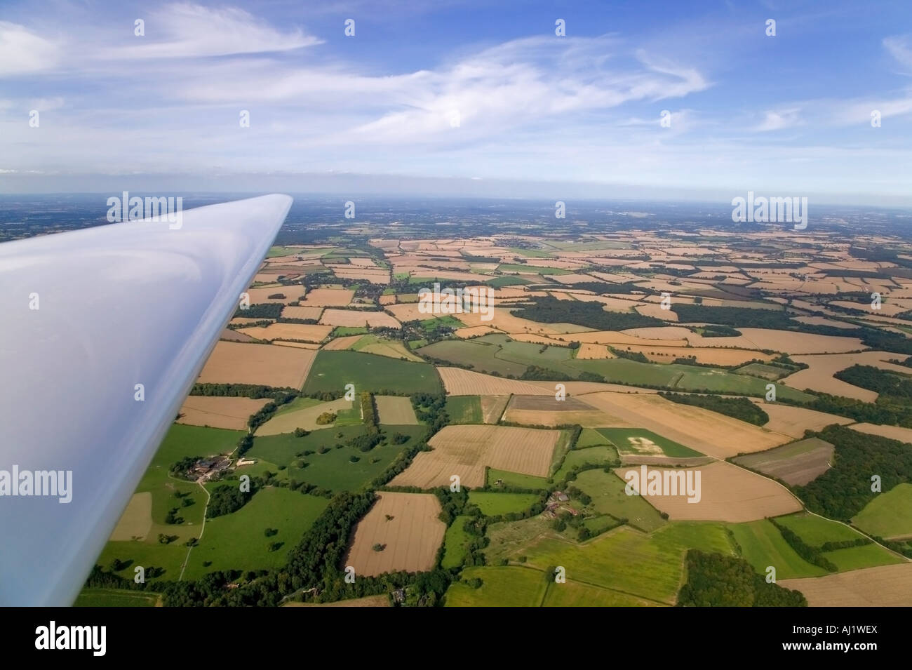 Ariel landscape shot taken from a glider - Stock Image