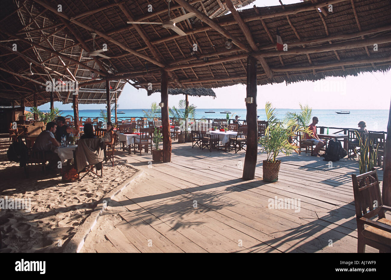 Breakfast time The Big Fish Restaurant at Aman Bungalows Nungwi Northern tip of Unguja Zanzibar Tanzania East Africa - Stock Image