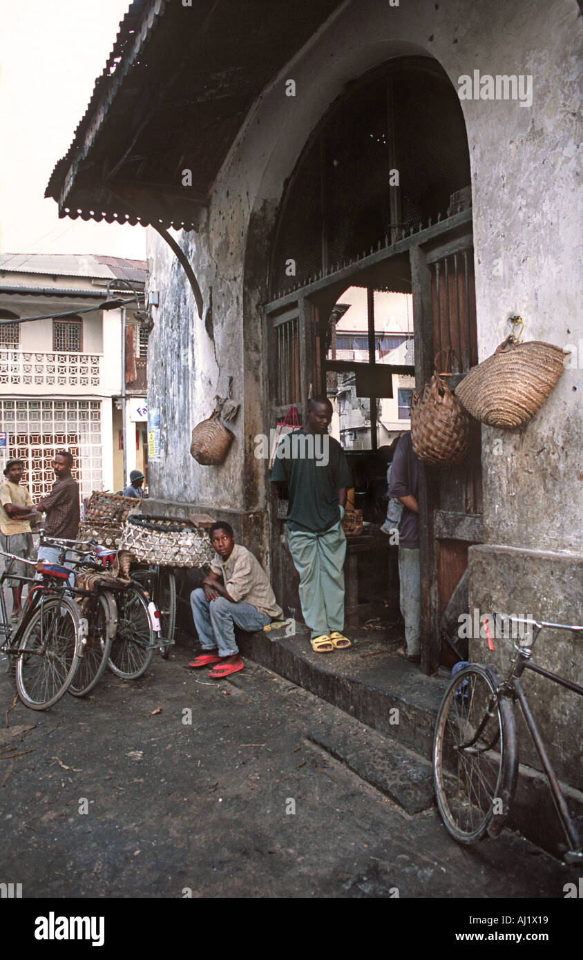 Outside the fish section of the market Stone Town Unguja Zanzibar Tanzania East Africa - Stock Image