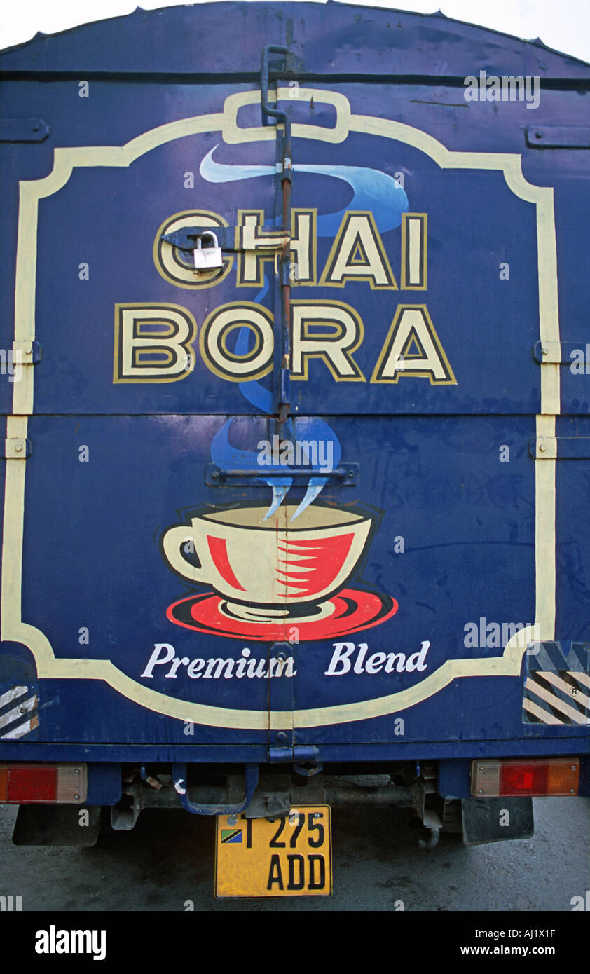 Livery on the back of a van transporting tea Stone Town Unguja Tanzania East Africa - Stock Image