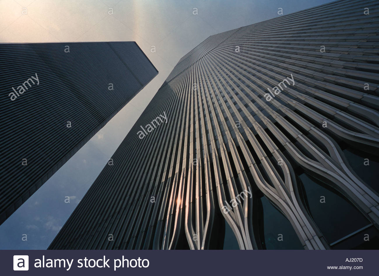 Towers of World Trade Center at an upward view - Stock Image