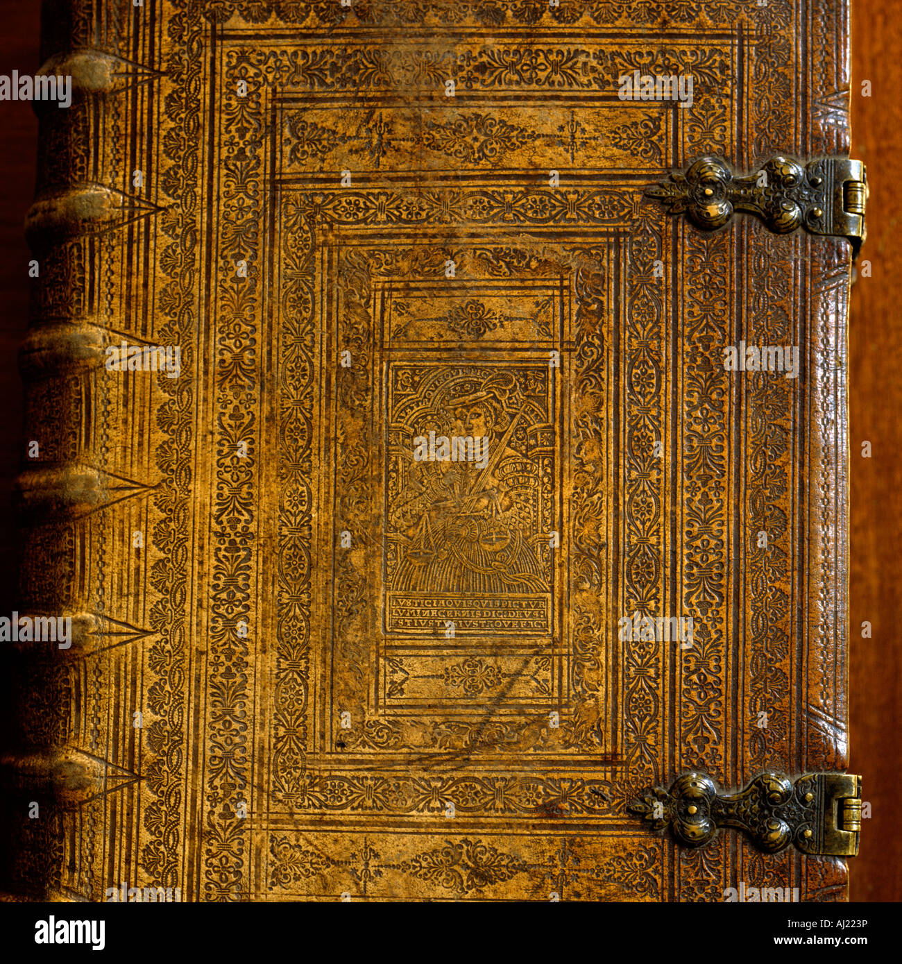 Ornate antique book cover with metal clasp - Stock Image
