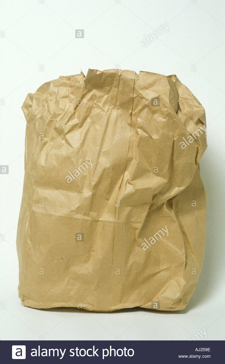 wrinkled paper lunch bag - Stock Image