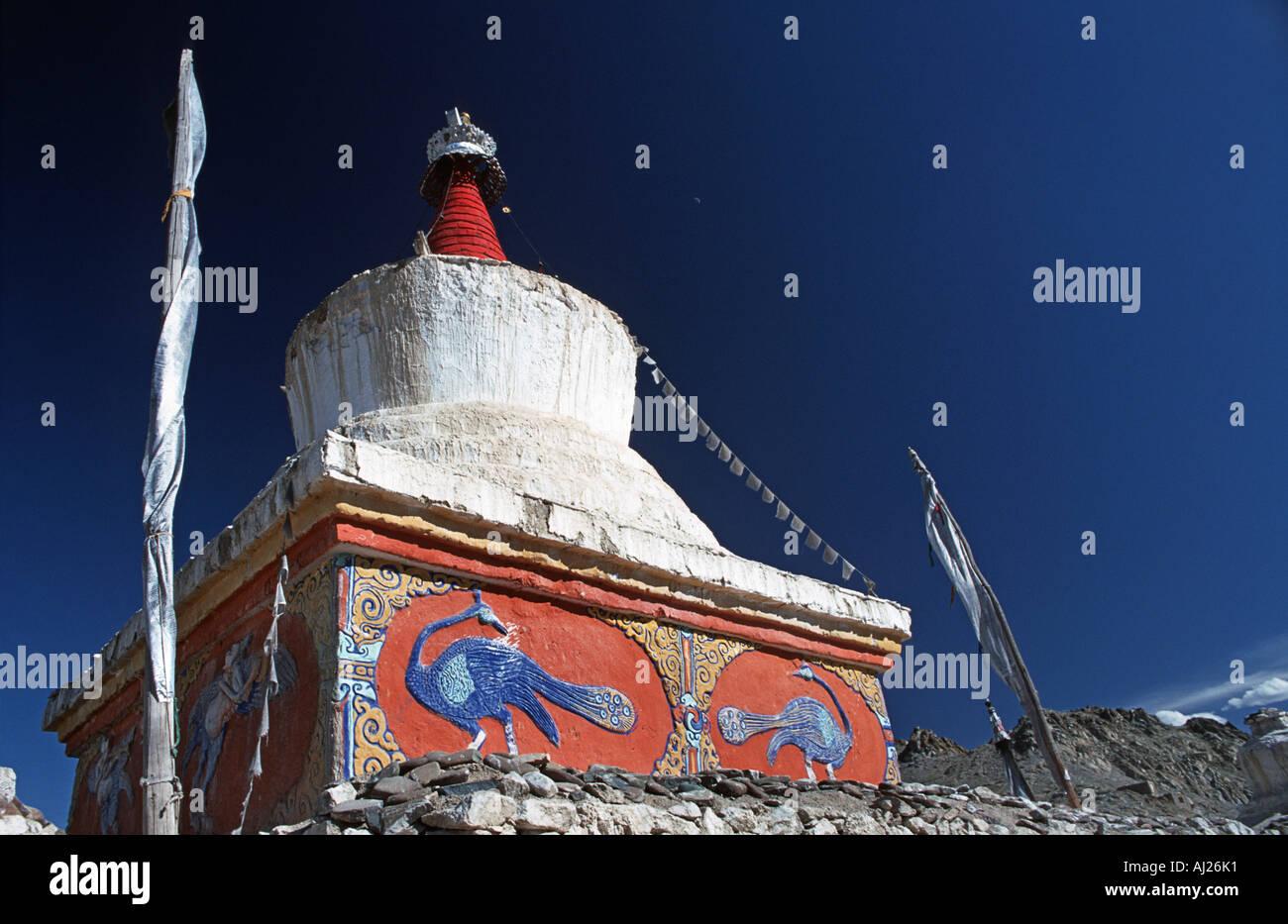 Buddhist stupa near the Kashmiri market Leh Ladakh Jammu and Kasmir Northern India - Stock Image