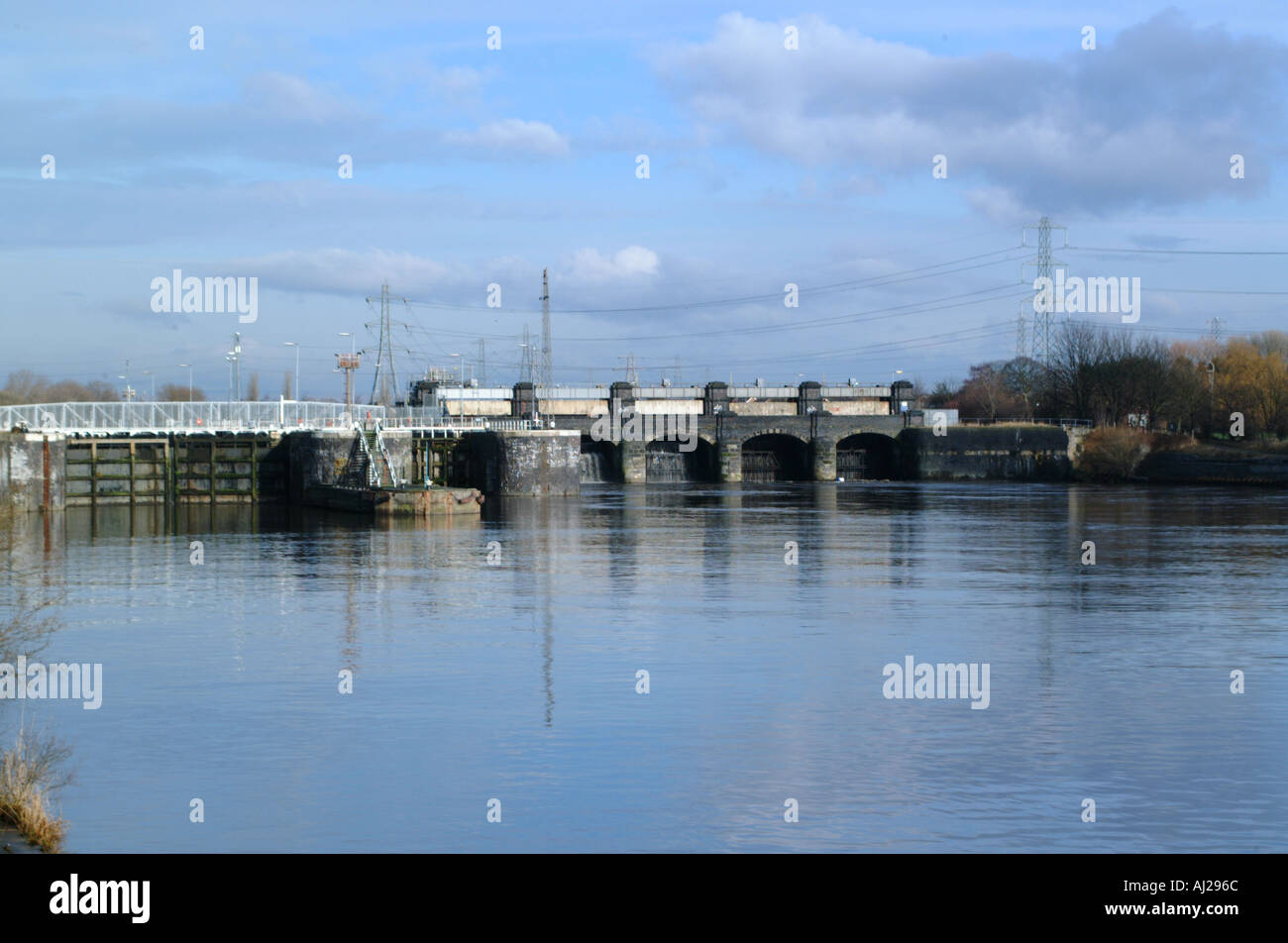 irlam locks along a stretch of the manchester ship canal england uk - Stock Image