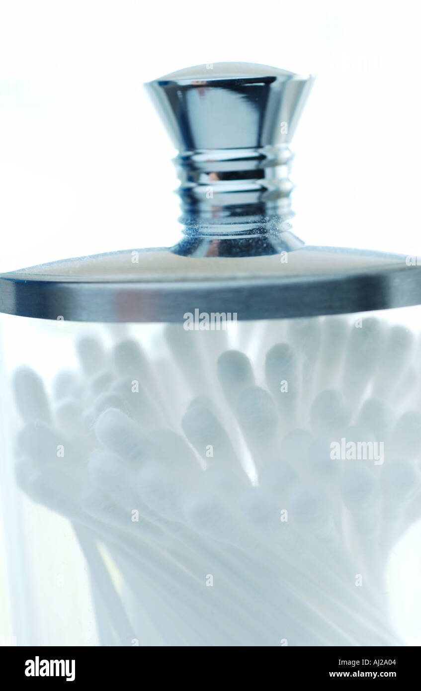 Apothecary jar of Cotton Swabs Stock Photo